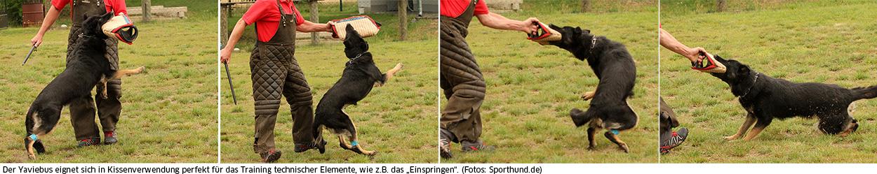"""Der Yaviebus eignet sich in Kissenverwendung perfekt für das Training technischer Elemente, wie z.B. das """"Einspringen""""."""